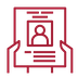 A small icon of a pair of hands holding a resume